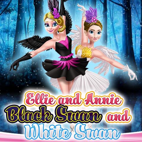 Ellie And Annie White Swan And Black Swan