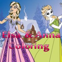 Elsa & Anna Coloring