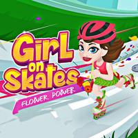 Girl On Skates Flower Power